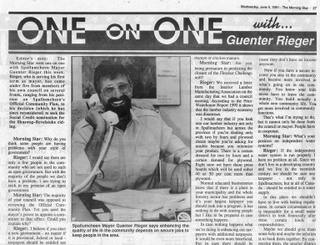 Mayor Guenter A. Rieger first interview in 1990 with the Morning Star